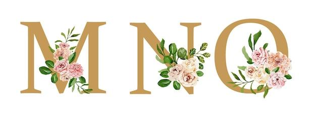 Piękne złote świąteczne litery ozdobione akwarelowymi kwiatami