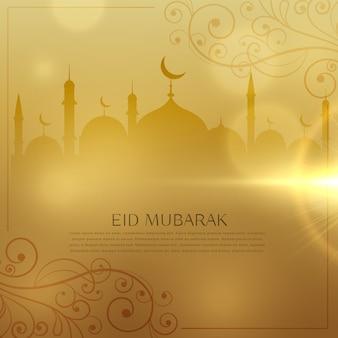 Piękne złote tło dla eid mubarak islamski festiwalu