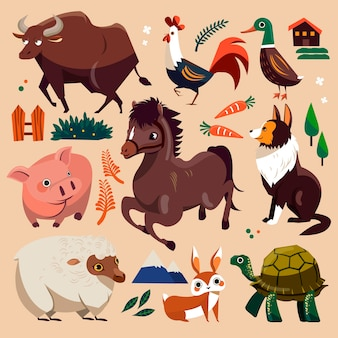 Piękne zwierzęta gospodarskie ustawione w stylu płaski