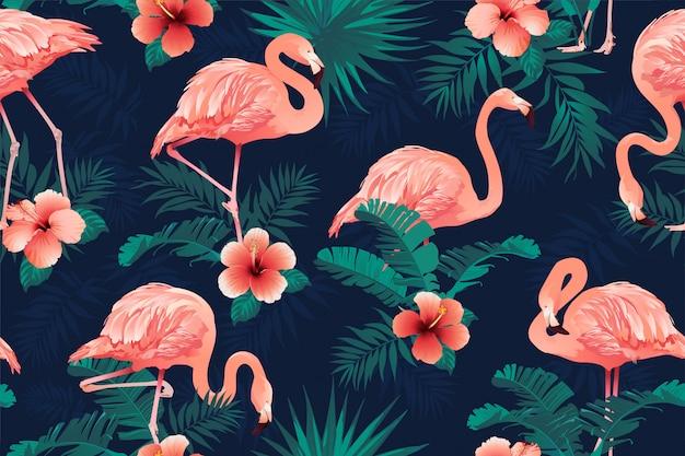 Pięknego flaminga ptasi tropikalny kwiatu tło