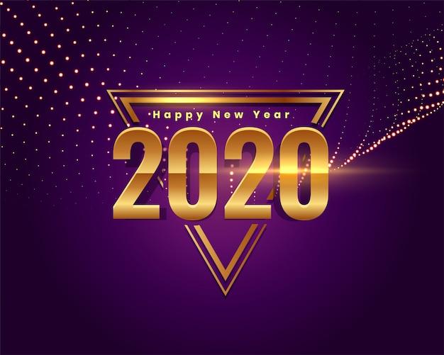 Pięknego szczęśliwego nowego roku teksta złoty tło