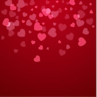 Pięknego valentine serc wektorowy tło na czerwieni.