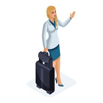 Pięknej kobiety w podróży służbowej, idzie z bagażem, machając na spotkanie. stylowy garnitur. podróżująca dama biznesu