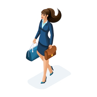 Pięknej kobiety w podróży służbowej, z bagażem. elegancki garnitur. podróżująca dama biznesu