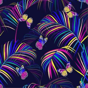 Pięknej słodkiej tęczy kolorowy tropikalny i palmowych liści bezszwowy deseniowy wektor