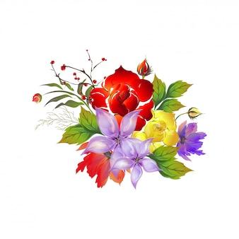 Piękni akwarela kwiaty dekorujący tło.