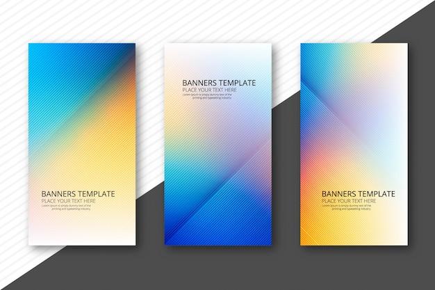Piękni kolorowi sztandary ustawiają szablonu projekta wektor