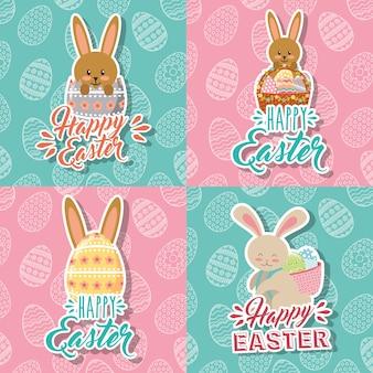 Piękni króliki i jajka koszykowa szczęśliwa easter kolekcja