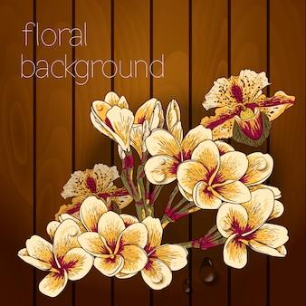 Piękni kwiaty na drewnianej teksturze.
