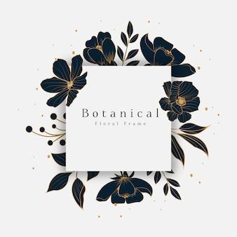 Pięknie botaniczna ramka w kwiaty