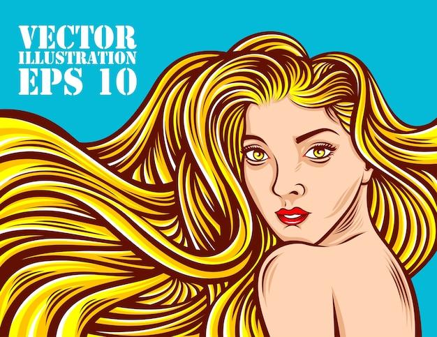Piękno dziewczyna z długie włosy wektorową ilustracją