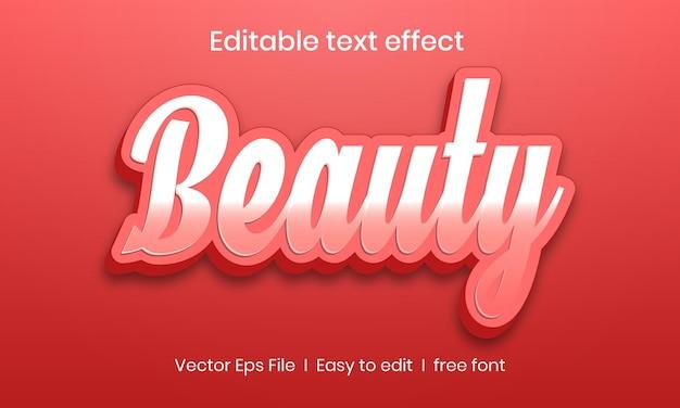 Piękno edytowalny efekt tekstowy 3d premium wektorów