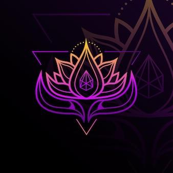 Piękno geometryczne logo lotosu minimalistyczny szablon projektu