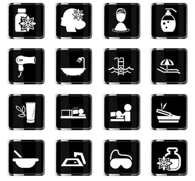 Piękno i spa wektorowe ikony do projektowania interfejsu użytkownika