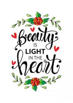 Piękno jest światłem w sercu. motywacyjny cytat.