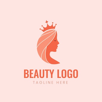 Piękno kobiece logo królowej kobiety z koroną
