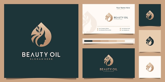 Piękno kobiet i kobiecy projekt logo oleju i szablon wizytówki. koncepcja logo negatywnej przestrzeni.
