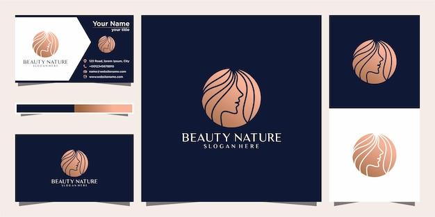Piękno kobiet staje przed kobiecym symbolem salonu, kosmetyki, pielęgnacji skóry i spa. logo i wizytówka.