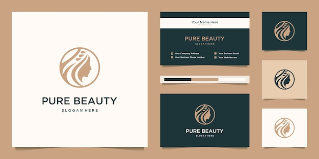 Piękno kobiet staje przed kobiecym symbolem salonu, kosmetyków, pielęgnacji skóry i spa. logo i wizytówka