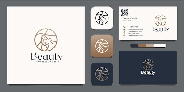 Piękno kobiety logo szablon projektu spa naturalnego salonu i wizytówki premium wektorów