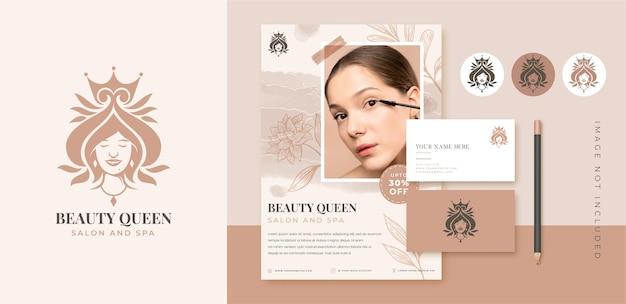 Piękno kobiety rozkwitać logo tożsamości marki