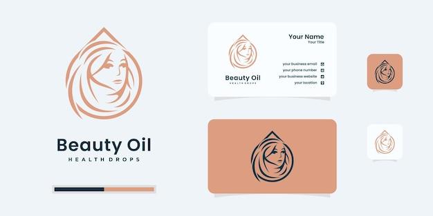 Piękno kobiety z projektowaniem logo kropli oleju. logo być używane dla zdrowego, salonu, szablonu projektu logo spa.