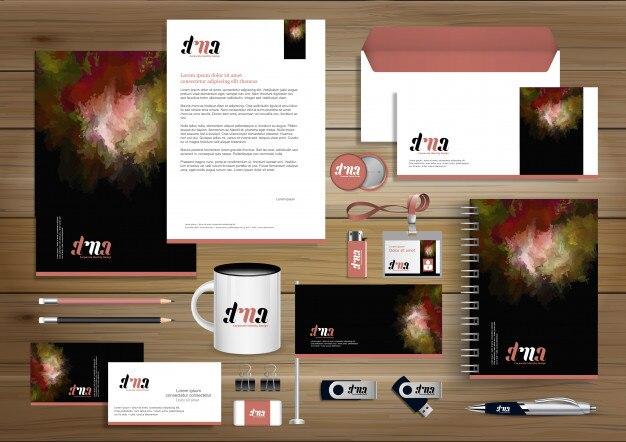 Piękno kolor identyfikacji wizualnej, elementy upominkowe szablon projektu z koncepcją zestaw łącze streszczenie