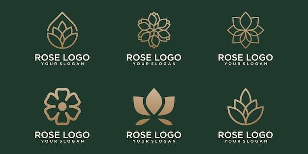 Piękno kwiat lotosu logo ikona zestaw szablonów projektu wektor