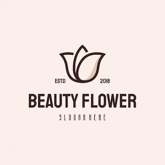 Piękno kwiatu loga retro rocznika wektoru szablon
