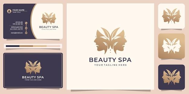 Piękno motyla z twarzą kobiet równowagi projektowanie logo i szablon wizytówki. wektor premium