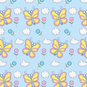 Piękno motyle insektów z kwiatów i chmur tłem