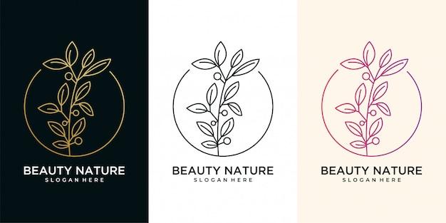 Piękno natury liść i kwiat z logo w stylu linii sztuki