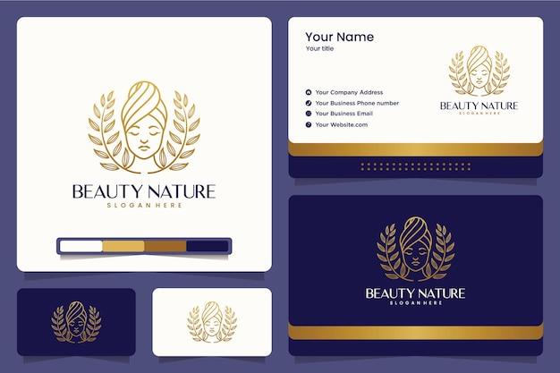 Piękno natury, pani, kwiat, liście, przyroda, projektowanie logo i wizytówki
