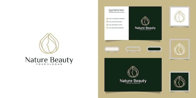 Piękno olej i szablon grafiki liniowej logo twarzy kobiety i wizytówkę