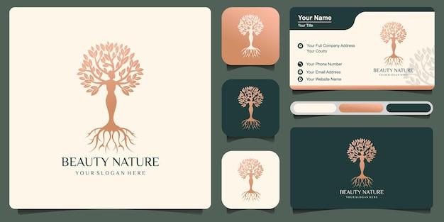 Piękno przyrody logo z połączeniem pięknej kobiety drzewa z wizytówką. premium wektor styl sztuki premium wektor