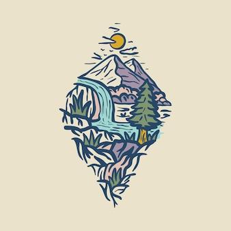 Piękno przyrody z ręcznie rysowaną akwarelą rzeki projekt graficzny ilustracja sztuki t-shirt
