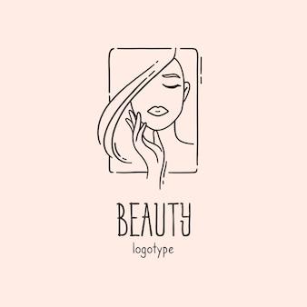 Piękno ręcznie rysowane logo kobiety