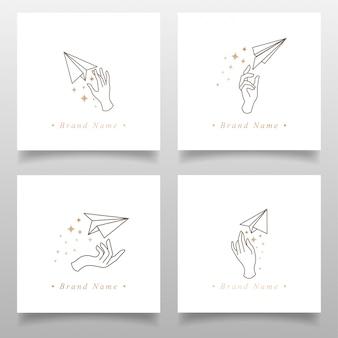 Piękno ręcznie samolotu logo origami papier edytowany szablon prosty design