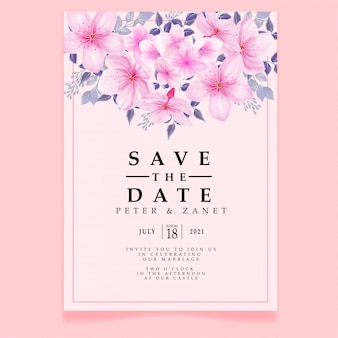 Piękno różowa akwarela wydarzenia ślubnego zaproszenia ulotki okwitnięcia kwiecisty edytowalny szablon