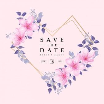 Piękno różowa akwarela wydarzenia ślubu zaproszenia rama kwitnie kwiecistego editable szablon