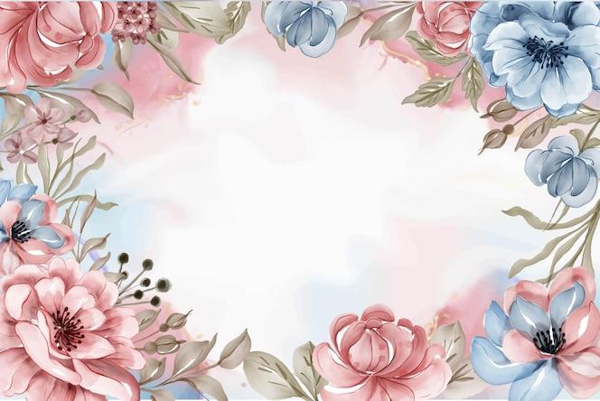 Piękno różowe niebieskie kwiaty akwarela rama tło