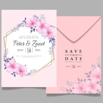 Piękno różowego akwareli ślubu wydarzenia zaproszenia kwiat kwiecisty edytowalny szablon