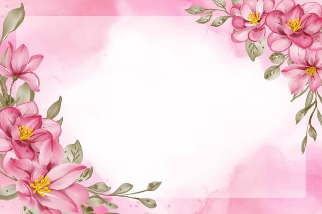 Piękno różowy kwiat akwarela rama tło