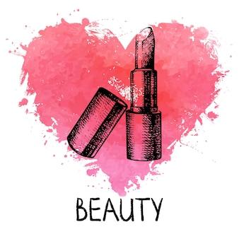 Piękno szkic tło z akwarela serce rozchlapać. akcesoria kosmetyczne. vintage ręcznie rysowane ilustracji wektorowych