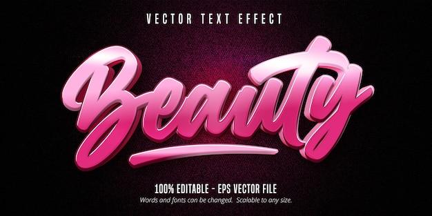 Piękno tekstu, edytowalny efekt tekstowy w stylu kaligrafii w kolorze różowym