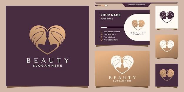 Piękno twarzy kobiety logo z koncepcją serca i projektem wizytówki premium wektorów