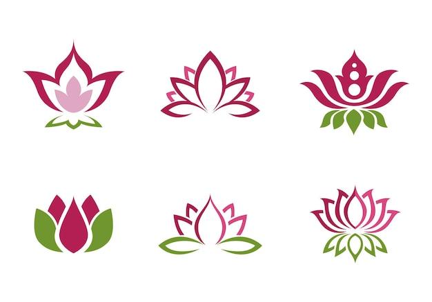 Piękno wektor kwiaty lotosu projekt logo szablon ikona