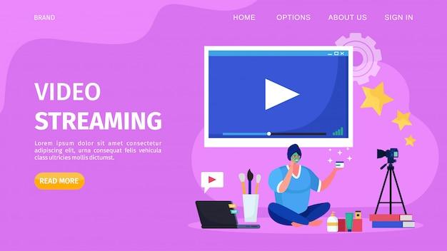 Piękno wideo online streaming, ilustracja. samouczek dotyczący rejestrowania kobiecych postaci blogera internetowego na stronie internetowej kanału.