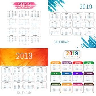 Piękny 2019 kalendarza setu projekta wektor