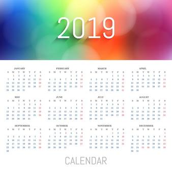 Piękny 2019 kolorowy kalendarzowy szablon tło
